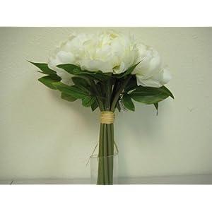 CREAM Hand Tied Peonies Bridal Wedding Bouquet Artificial Silk Flower 740-CR 24