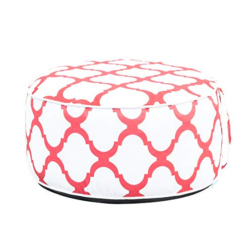 - QILLOWAY Indoor/Outdoor Inflatable Stool,Round Ottoman,Foot Rest for Kids or Adults, Camping or Home (Simple RED)