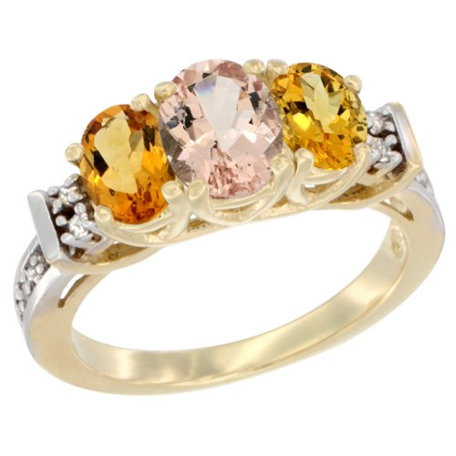 Oval Citrine Diamond Accent Ring - 14K Yellow Gold Natural Morganite & Citrine Ring 3-Stone Oval Diamond Accent, size 6.5