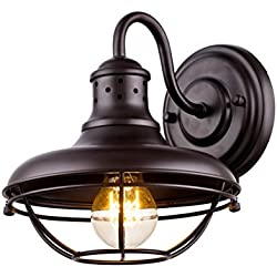 Dazhuan Vintage Metal Cage Wall Light Porch Wall Lantern Wall Sconce Lamp Oil Rubbed Bronze Finish
