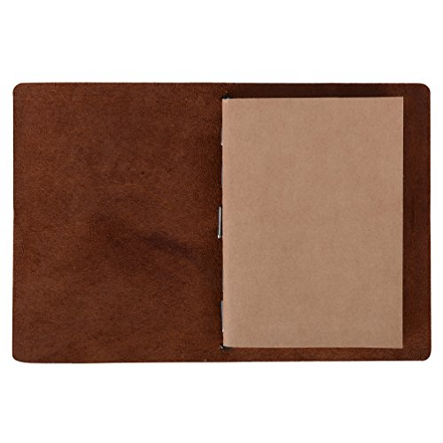 Passport Travelers Notebook - Minimalist Leather Journal Diary (Refillable | 64 Blank Pages | Dark Brown) Photo #4