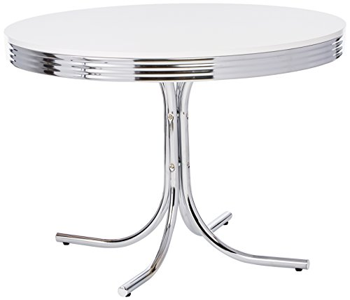 Coaster Retro Round Dining Kitchen Table in Chrome / White by Coaster Home Furnishings