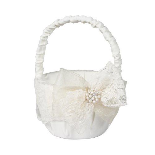 Delilah Flower Girl Basket for Weddings, Ivory