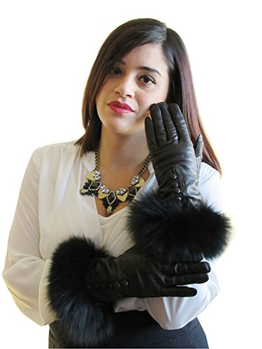 Cashmere Lined Black Lambskin Leather Long Gloves w/Black Fox Trim 7
