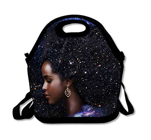 SARA NELL Neoprene Afro Girls Lunch Bag Insulated African American Women Girl Galaxy Hair Lunchbox Handbag with Adjustable Shoulder Strap for Work School Outdoor Picnic