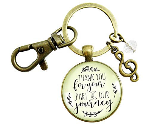 Wedding Singer Gift Keychain Thank You For Your Part Rustic Pendant For Musician Soloist G Clef Charm Keepsake Card ()