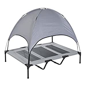 Amazon.com : Pawhut Elevated Cooling Dog Bed Cot w/Canopy
