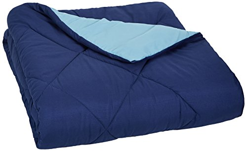 AmazonBasics Reversible Microfiber Comforter Blanket - Twin or Twin XL, Navy - Reversible Blue Blanket