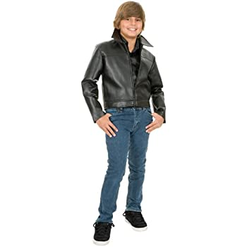 549468695 Grease Leather Boys Size 4-6 XS Movie Halloween Jacket 4-6