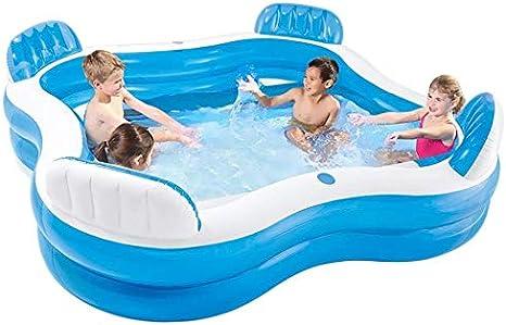 Zenghh Inflable Piscina for niños con 4 asientos incorporados piscina, jardín al aire libre Familia portátil