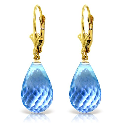 28 CTW 14K Solid Gold Loveliness Blue Topaz Earrings