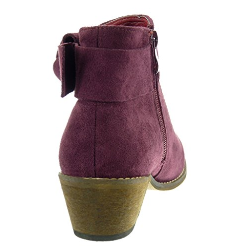Angkorly Women's Fashion Shoes Ankle boots - Booty - Fancy/Chic - cavalier - knot - node - buckle Block high heel 5 CM Red 74orAF0