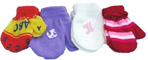 - Set of Four One Size Stretch Microfiber Lined Magic Mittens for Ages 0-6 Months