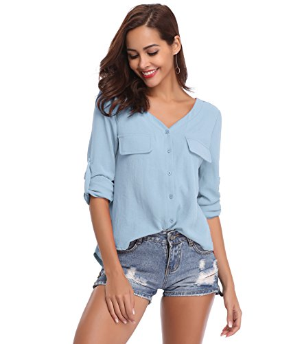 LYHNMW YHNMW Women's Casual Button Down Shirt Loose Roll-up Sleeve Tops Chiffon V-Neck Blouse by LYHNMW (Image #2)