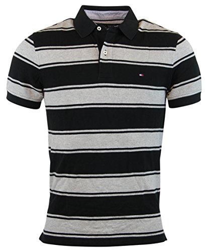 dfb612dd Tommy Hilfiger Mens Custom Fit Striped Polo Shirt - XL - Black/Gray - Buy  Online in Oman. | Apparel Products in Oman - See Prices, Reviews and Free  Delivery ...