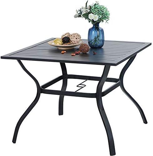 PHI VILLA 37 Inch Outdoor Dining Table Metal Steel Slat Patio