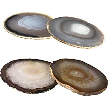 Kooalo Agate Coasters- Set of 4 Unique and Beautiful Drink Coasters From Round Brazilan Agate Geodes.