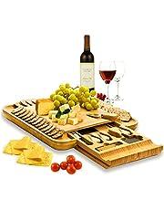 Premium Bamboo Cheese Board Set - Wooden Charcuterie Board Serving Platter with Knife Set, Hidden