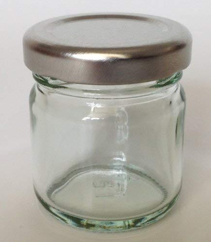 Italyglass 24 Barattoli vasetti Vetro per Monodose Miele 40 ml con Capsula Argento