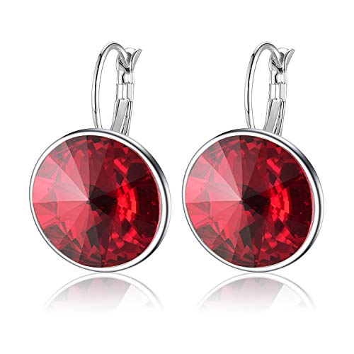 Swarovski Crystals Round Drop Leverback Earrings for Women Girls 14K Gold Plated Hypoallergenic Hoop Earrings (Red)