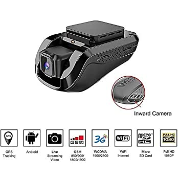Image of Dash Cam Car Video Recorders – Amacam AM-G10 with 3G Live Video Streaming to Your Phone Front Facing & Internal Camera Views GPS Vehicle Tracker in Real Time from Any Location. 16GB Card Included. On-Dash Cameras