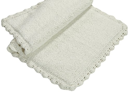 Chesapeake Merchandising Crochet 2-Piece Bath Rug Set, 21 by 34-Inch and 17 by 24-Inch, Ivory by Chesapeake Merchandising