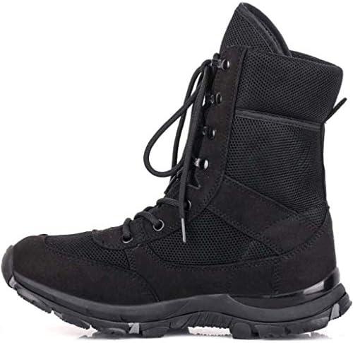 男軍事戦術的なブーツ用アサルトブーツレザーウールのオックスフォード布ラバーソールレースアップスタイルは屋外の森林地帯のために滑り止め耐摩耗穿孔を減衰 (色 : 黒, サイズ : 25 CM)