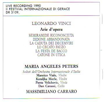 Leonardo Vinci: Arie D'Opera / Opera Arias (Live Recording, 1990 Il Festival Internazionale Di Gerace)