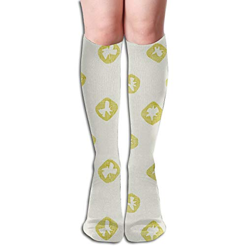 Hachure Shibori Spot Chartreuse Comfortable Adult Knee High Sock Gym Outdoor Socks 50cm 19.7inch