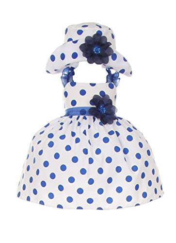Prom Couture Special Occasion Dress - Cinderella Couture Baby Girls Polka Dotted Rockabilly Dress Hat Navy 18M L 1002