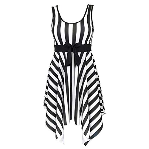 - Orangeskycn women Tankini Swimdress Striped Bow Belt Irregular Hem Padded Bra Swimwear Black