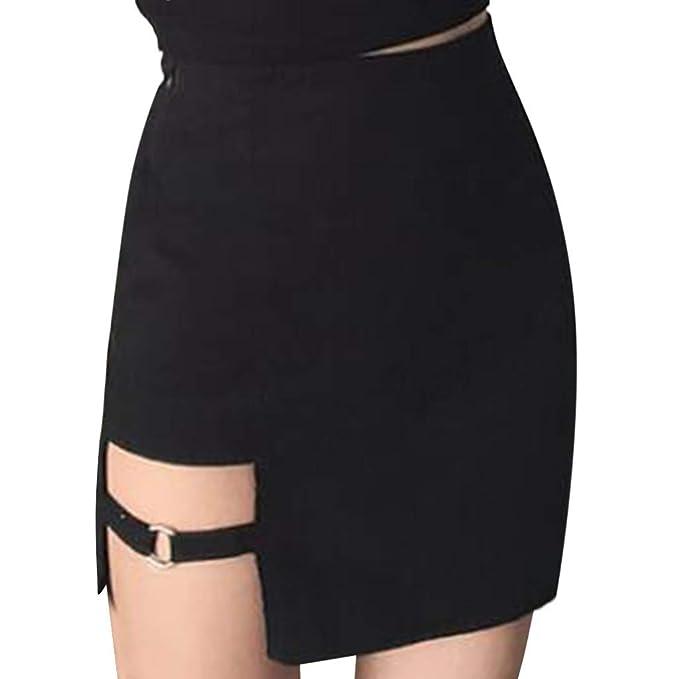 Gusspower Mini Falda Corta para Mujeres Moda A-lìnea Cuero Sexy ...