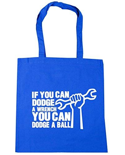 HippoWarehouse si puedes Dodge una llave puede Dodge una bola bolsa de compras bolsa de playa 42cm x38cm, 10litros Azul Aciano