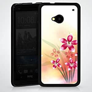 Carcasa Design Funda para HTC One M7 HardCase black - Butterfly Orchid