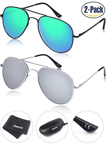 Young4us Aviator Sunglasses Polarized Metal Mirror UV400 Men Women (Olive Transparent Sunglasses)