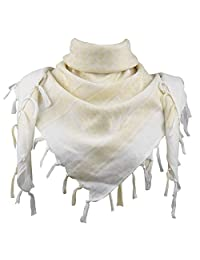Explore Land 100% Cotton Military Shemagh Tactical Desert Keffiyeh Scarf Wrap (White and Tan)