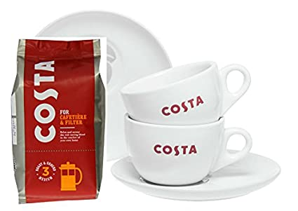 5b95de467b7 Costa Coffee Gift Set | Costa Coffee for Cafetiere | 2 Cups, 2 Saucers &