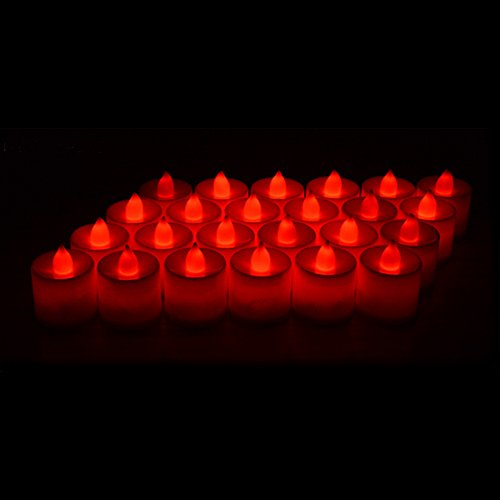 24 Pack LED Tea lights Candles – Flickering Flameless Tealight Candle – Battery Operated Electronic Fake Candles – Decoration for Wedding, Party, Dating and Festival Celebration (Red)
