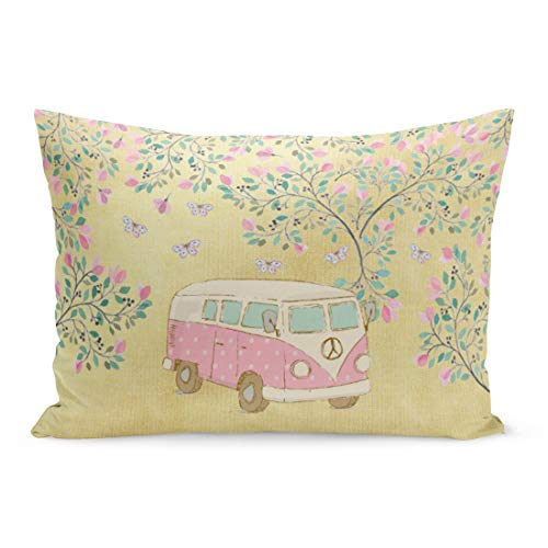 Aikul Throw Pillow Cover Watercolor Cute Hippy Van Butterflies and Blossom Pink Retro Pillow Case Cushion Cover Lumbar Pillowcase Decoration for Couch Sofa Bed Car,20 x 26 inchs (Van Hippy)
