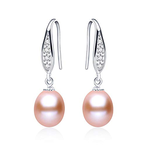 (Earring 925 Sterling Silver Drop Earrings For Women Elegant 8-9Mm Natural Pearl Jewelry Gift For Mother 4 Colors,Pink Pearl)