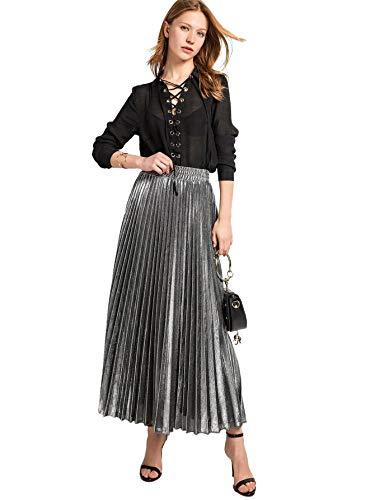 Romwe Women's Metallic Shiny Shimmer Accordion Pleated Long Maxi Skirt Silver L ()