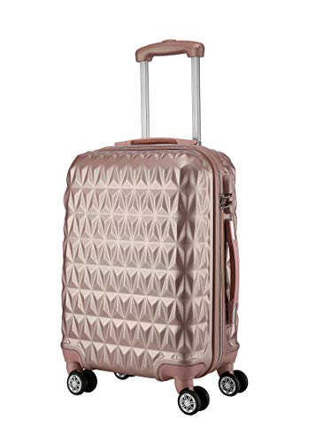 Hard Shell Cabin Carry On Suitcase 55 cm 2.5 kg 35 litres 4 Wheels Number Lock (Rose Gold)