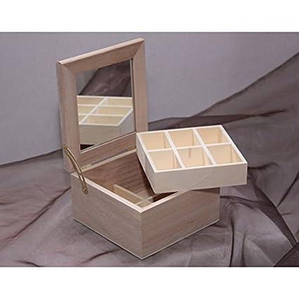 Porta Gioie cuadrado con espejo Decoupage. LP230 caja cajas madera