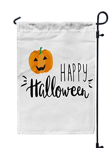 GROOTEY Flag Garden,Home Yard Decorative 12X18 Inches Cute Halloween Invitation Greeting Card Template Smiling Pumpkin Written Lettering Happy Can Be Double Sided Seasonal Garden Flags