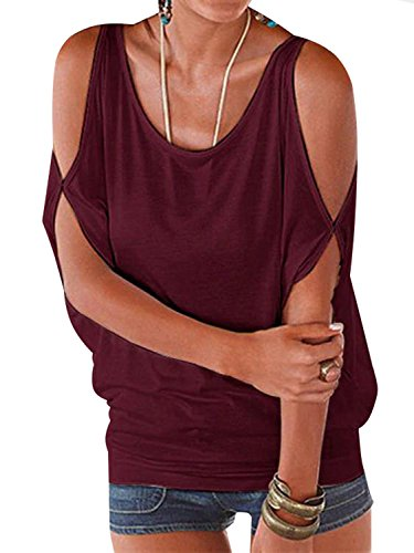 YOINS Women Summer T Shirt Cold Shoulder Short Sleeves Round Neck Loose Fit Tie up Back Tee Pullover Casual Top Multi Color Wine Red XS ()