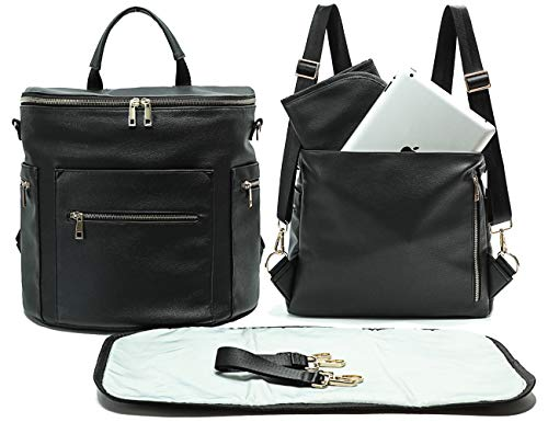Leather Diaper Bag Backpack by MF Store, Diaper Backpack with Laptop Sleeve,Changing Pad,Wipes Pouch,Diaper Bag Organizer,Stroller Straps and Insulated Pockets (Black) ()