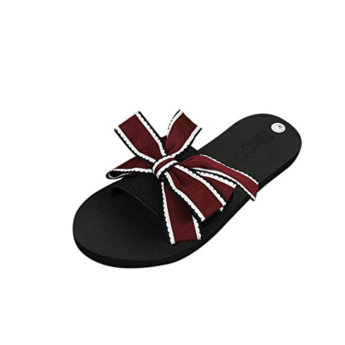 IGEMY Mädchen Bow Sommer Sandalen, Slipper Indoor Outdoor Flip-Flops Strandschuhe Rot