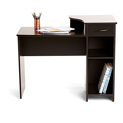 Adjustable Storage Shelf and Easy Gliding Drawer Student Desk in Solid Black by Toys & Child