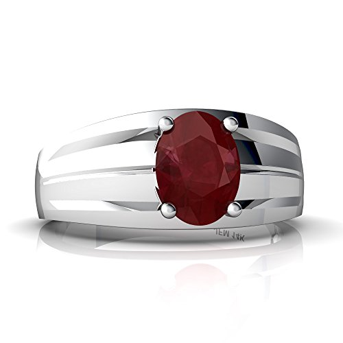 (14kt White Gold Ruby 8x6mm Oval Men's Ring - Size 8.5)