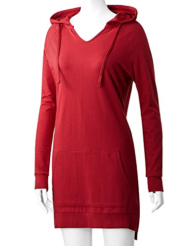 Regna X Love Coated Womens Long Sleeve Raglan Crewneck Hoodie Dress Red S by Regna X (Image #4)